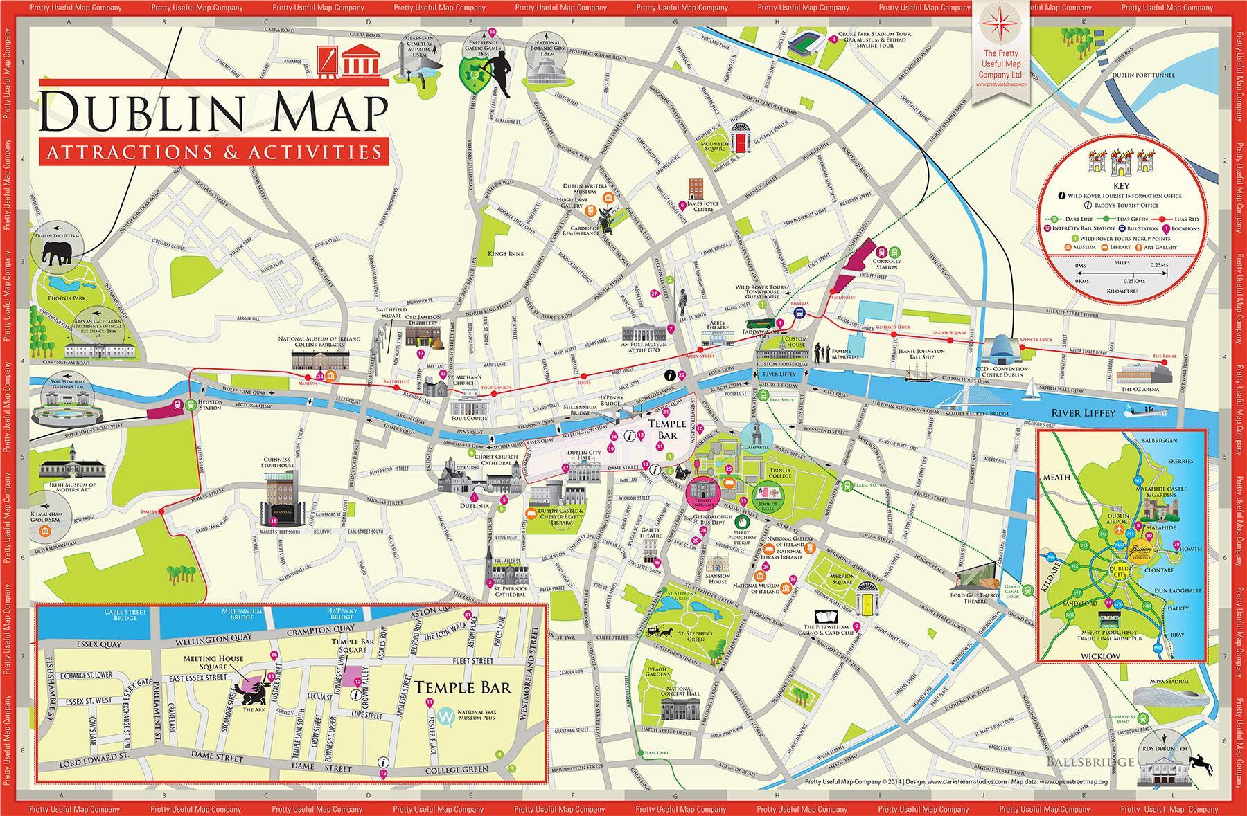 Irlanda Cartina Turistica.Dublino Mappa Della Citta Mappa Turistica Di Dublino Irlanda